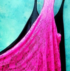 Tops - NWOT Very pretty lace racerback tank cover up